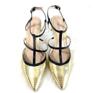 Pour la Victoire Faux Snakeskin Strappy Heels